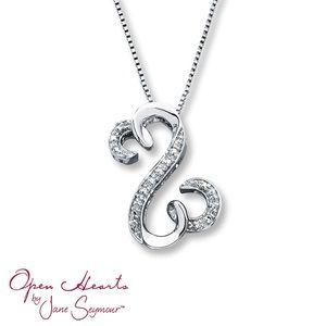 1/20ct Diamond Open Hearts Pendant NWT